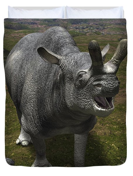 A Brontotherium Leaves His Forest Duvet Cover by Walter Myers