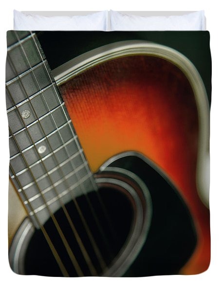 Duvet Cover featuring the photograph  Guitar  Acoustic Close Up by Bruce Stanfield