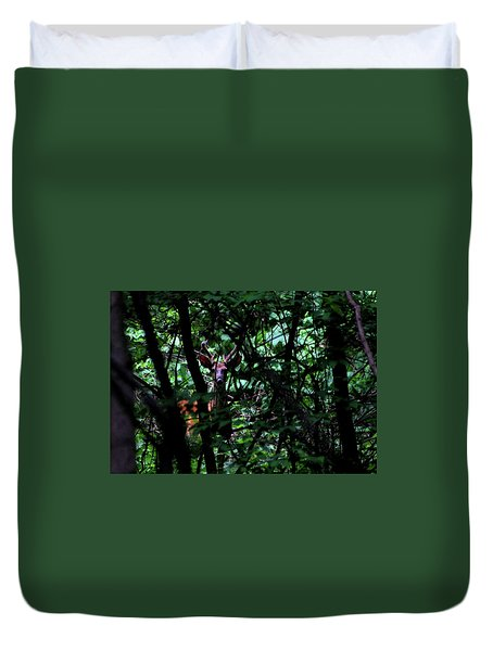 Duvet Cover featuring the photograph A Buck Peers From The Woods by Bruce Patrick Smith