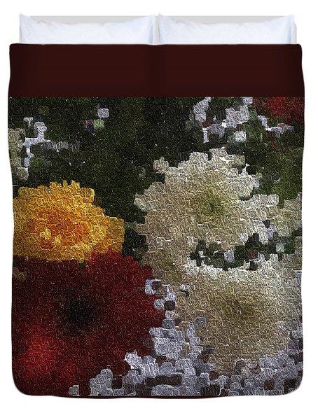 A Bunch Of Flowers In A Woolen Texture Duvet Cover
