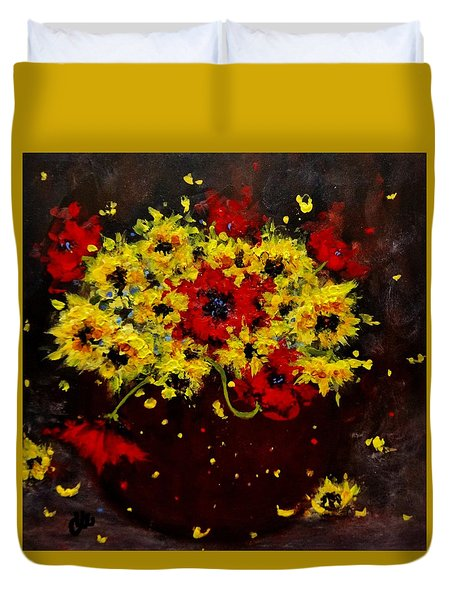 Duvet Cover featuring the painting A Bunch Of Happiness.. by Cristina Mihailescu