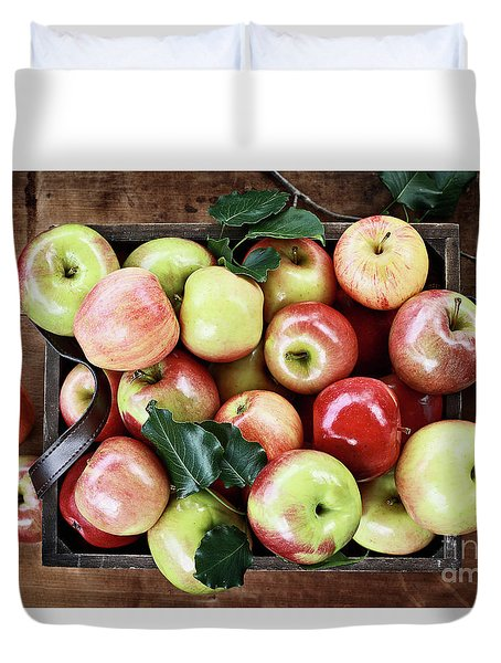 Duvet Cover featuring the photograph A Bushel Of Apples  by Stephanie Frey