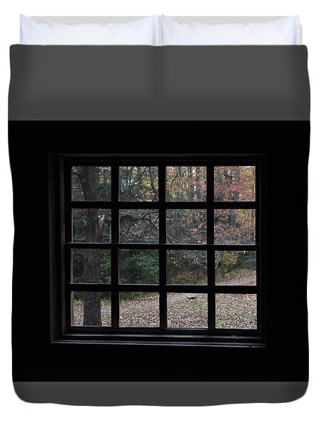A Cabin View Of Fall Duvet Cover by Kathleen Scanlan
