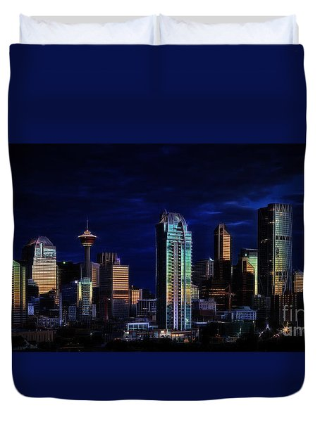 Duvet Cover featuring the photograph A Calgary Sunrise by Brad Allen Fine Art
