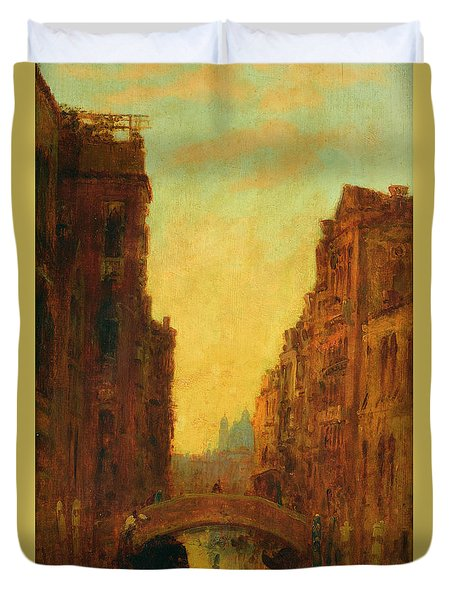 A Canal In Venice Duvet Cover