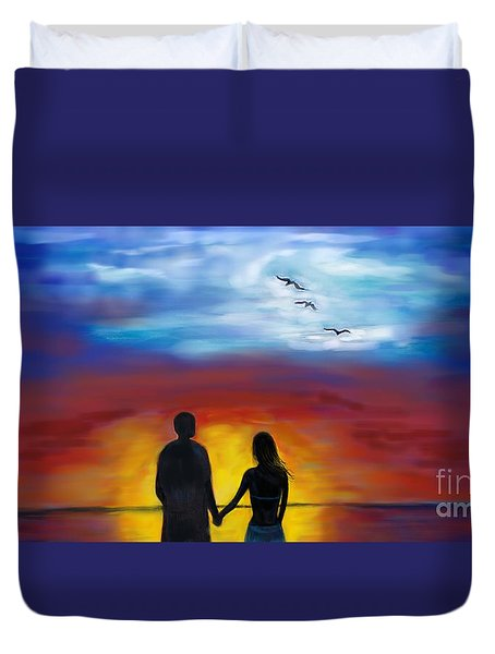 Duvet Cover featuring the painting A Captivating Love by Leslie Allen
