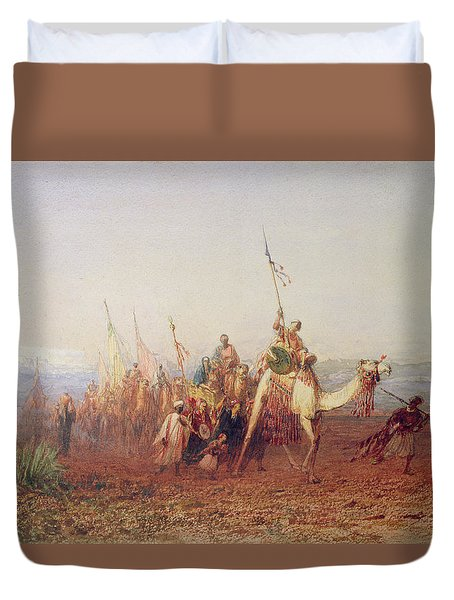 A Caravan On The Way To Cairo Duvet Cover by Felix Ziem