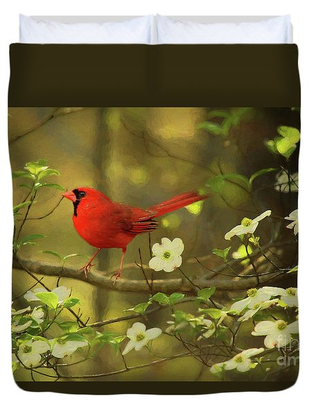 Duvet Cover featuring the photograph A Cardinal And His Dogwood by Darren Fisher