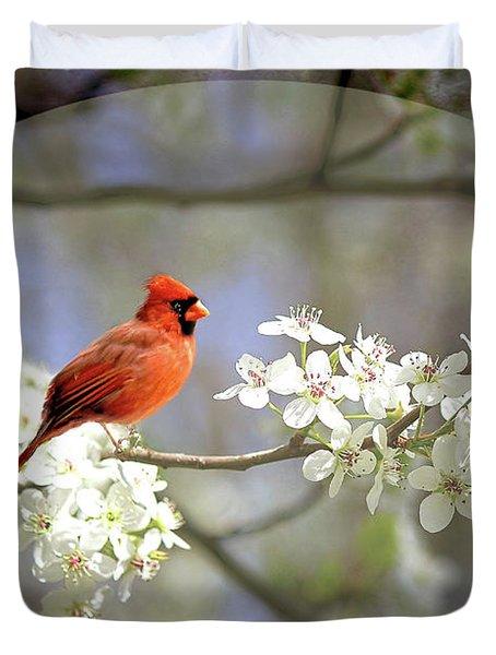 A Cardinal In A Pear Tree 2 Duvet Cover