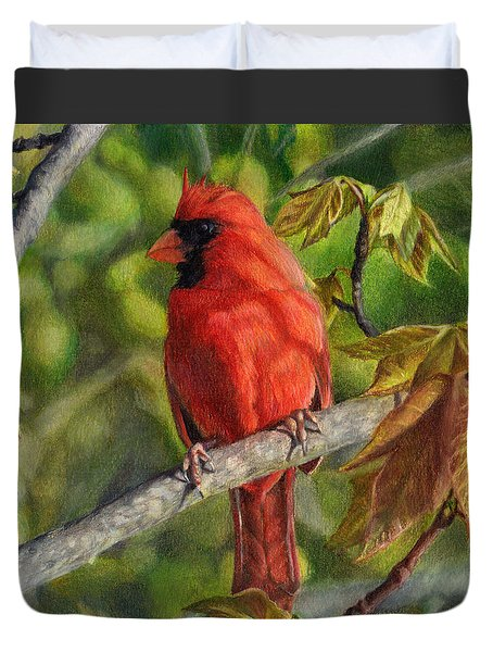 A Cardinal Named Carl Duvet Cover by Shana Rowe Jackson
