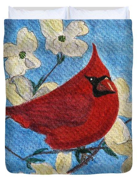 A Cardinal Spring Duvet Cover