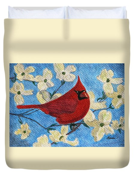 Duvet Cover featuring the painting A Cardinal Spring by Angela Davies