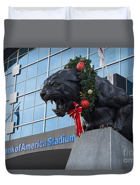 A Carolina Panthers Christmas Duvet Cover by Kevin McCarthy