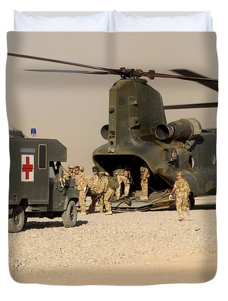 A Ch-47 Chinook Helicopter Drops Duvet Cover by Andrew Chittock