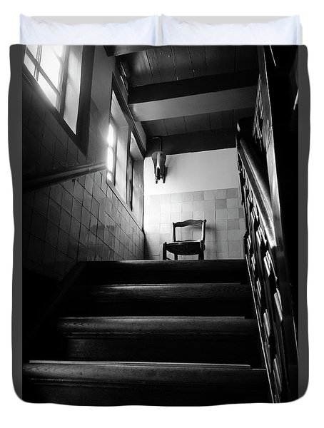 A Chair At The Top Of The Stairway Bw Duvet Cover by RicardMN Photography