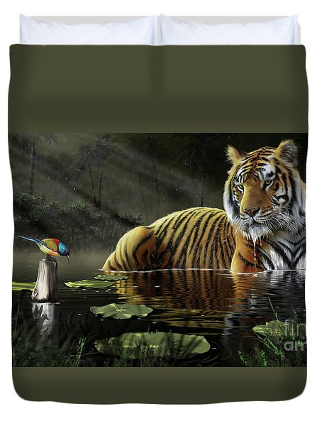 Duvet Cover featuring the digital art A Chance Encounter by Don Olea