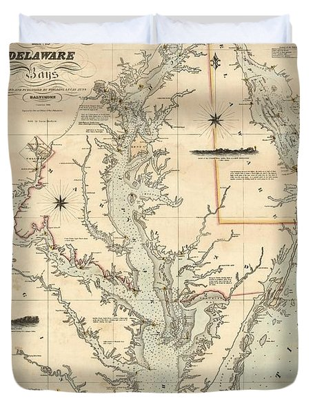 A Chart Of The Chesapeake And Delaware Bays 1862 Duvet Cover by Celestial Images