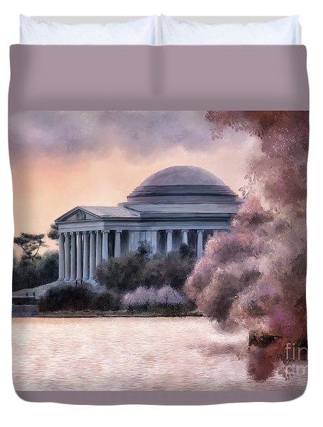 Duvet Cover featuring the digital art A Cherry Blossom Dawn by Lois Bryan