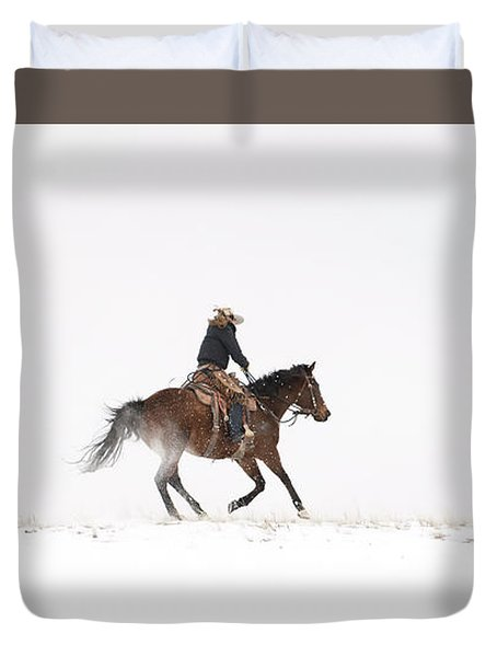 A Chilly Ride Duvet Cover