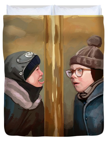 A Christmas Story Tongue Stuck To Pole Duvet Cover