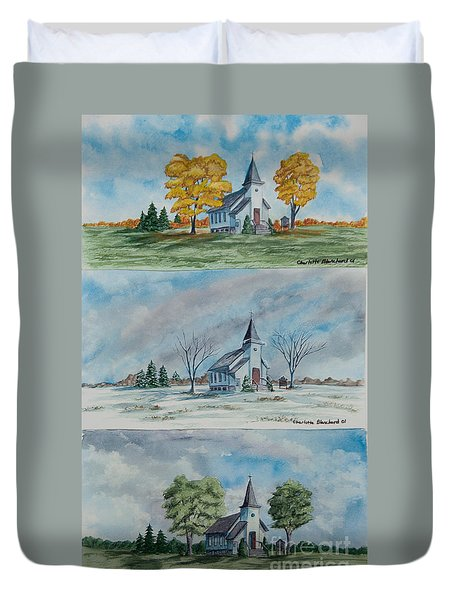 A Church For All Seasons Duvet Cover by Charlotte Blanchard