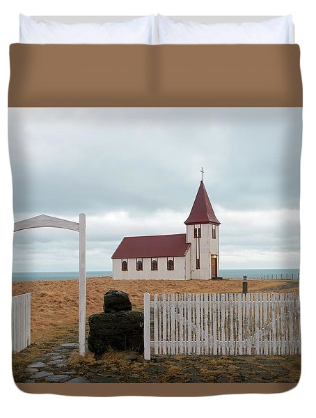 Duvet Cover featuring the photograph A Church With No Fence by Dubi Roman
