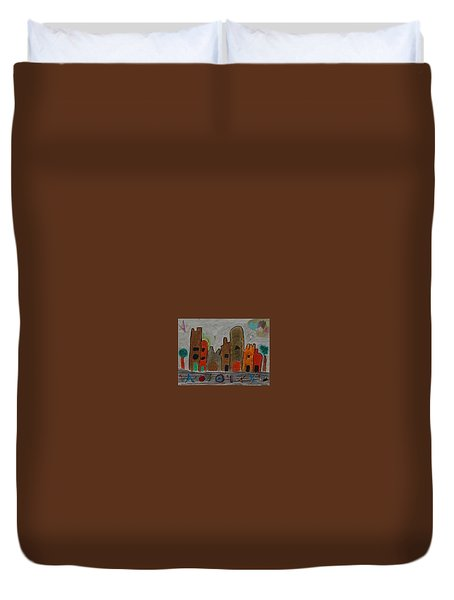 A Child's View Of Downtown Duvet Cover by Harris Gulko