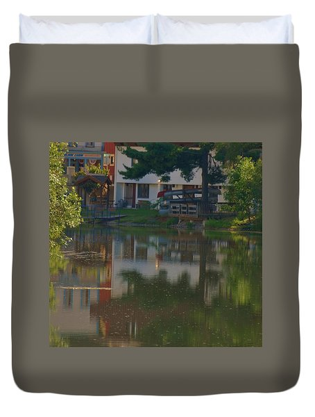 Duvet Cover featuring the photograph A Cities Reflection by Ramona Whiteaker