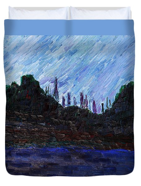 Duvet Cover featuring the painting A City That Never Sleeps by Vadim Levin