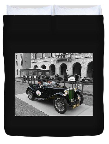A Classic Vintage British Mg Car Duvet Cover