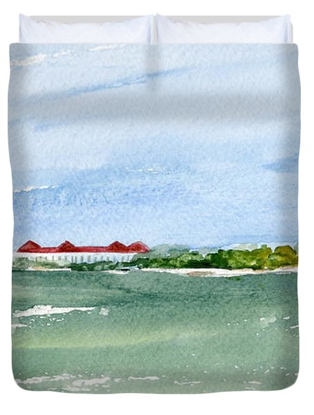 A Clear Day At Cape May Point  Duvet Cover