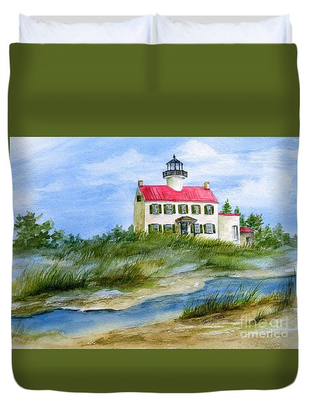 A Clear Day At East Point Lighthouse Duvet Cover by Nancy Patterson