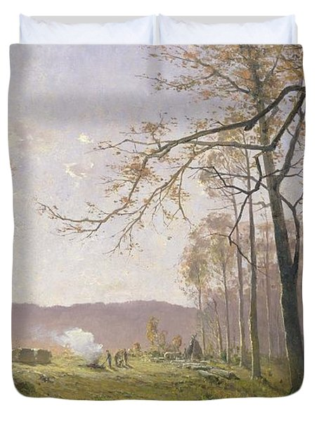 A Clearing In An Autumnal Wood Duvet Cover by Max Kuchel