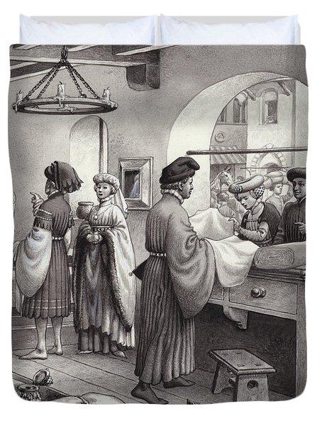 A Cloth Merchant's Shop In Renaissance Italy Duvet Cover