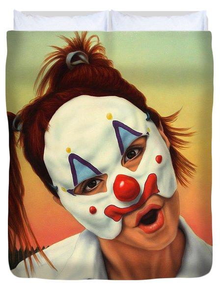 A Clown In My Backyard Duvet Cover by James W Johnson