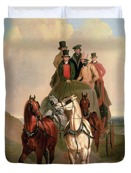 A Coach And Four On An Open Road  Duvet Cover by William Snr Shayer