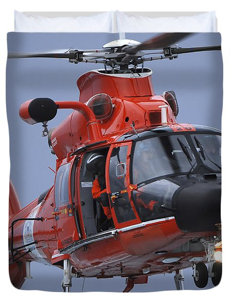 A Coast Guard Mh-65 Dolphin Helicopter Duvet Cover by Stocktrek Images