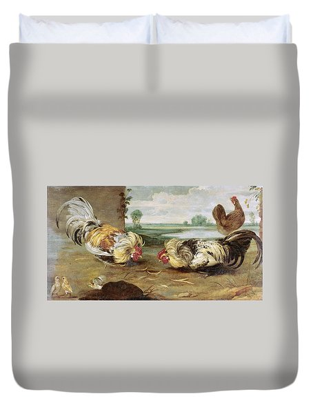 A Cock Fight Duvet Cover