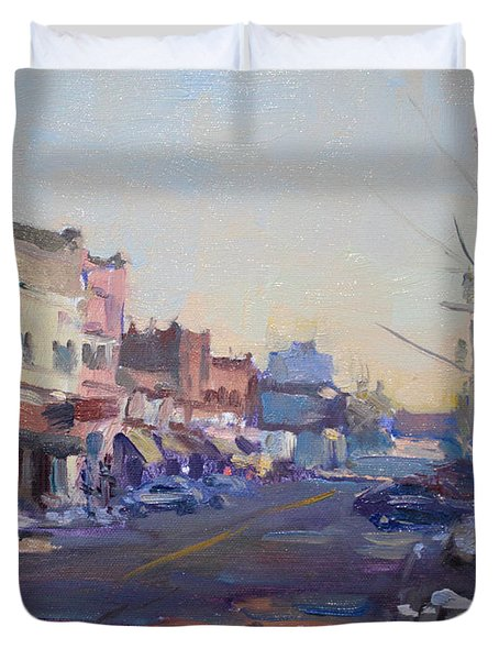 A Cold Sunny Day At Webster St Duvet Cover