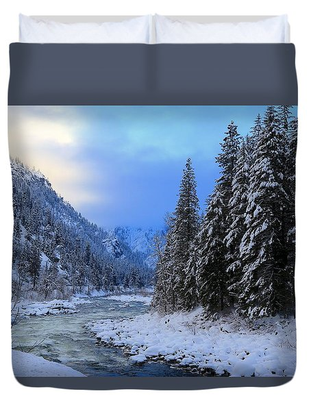 A Cold Winter Day Version 2 Duvet Cover by Lynn Hopwood