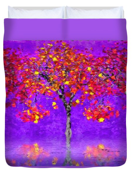 Duvet Cover featuring the painting A Colorful Autumn Rainy Day by Gabriella Weninger - David