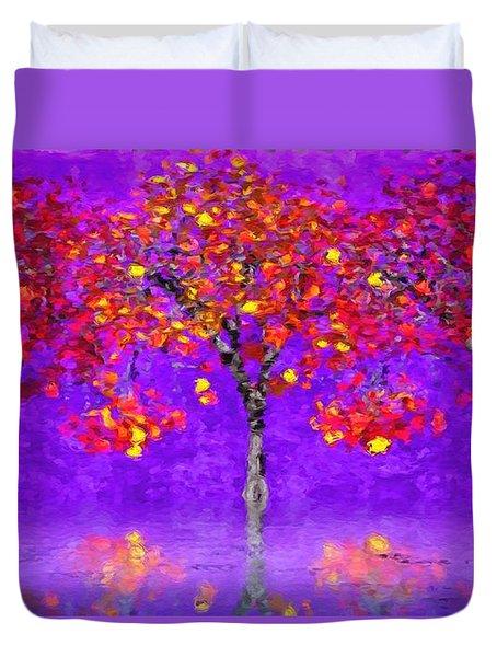 A Colorful Autumn Rainy Day Duvet Cover
