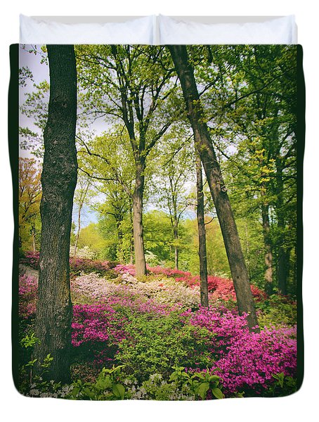 A Colorful Hillside Duvet Cover by Jessica Jenney
