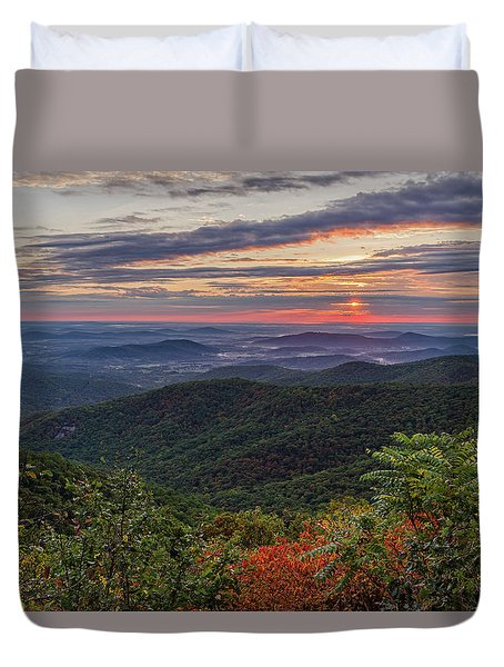 Duvet Cover featuring the photograph A Colorful Sunrise by Lori Coleman
