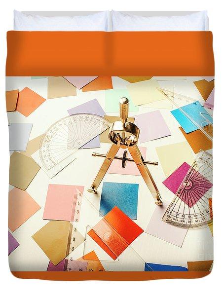 A Colourful Blueprint Duvet Cover