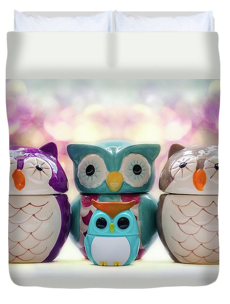A Colourful Parliament Of Owls Duvet Cover