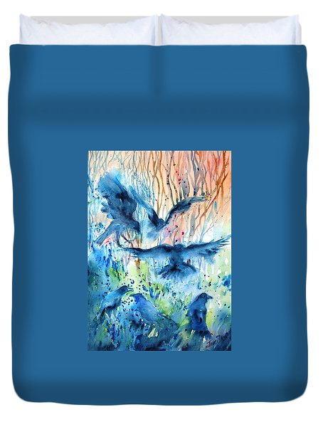 A Conspiracy Of Ravens  Duvet Cover by Trudi Doyle