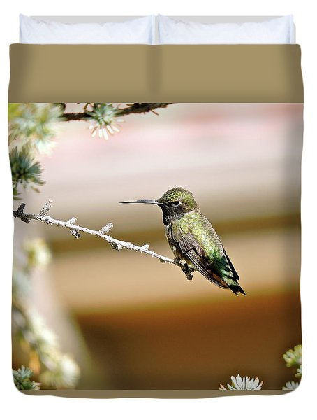 A Contented Hummer Duvet Cover