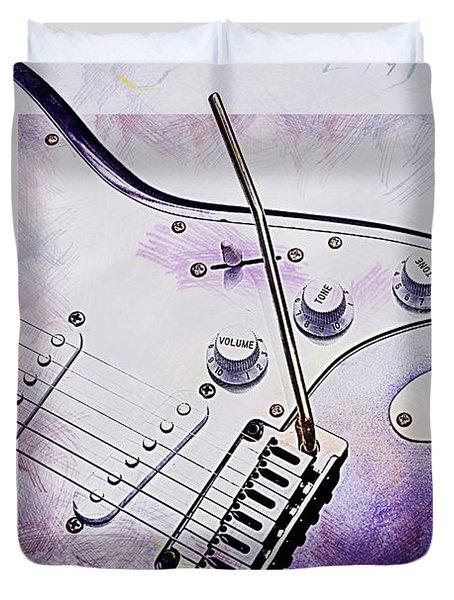 A Cool Purple Guitar Duvet Cover