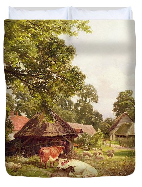 A Cottage Home In Surrey Duvet Cover by Edward Henry Holder